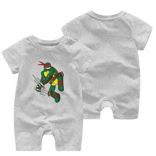 Teenage-Mutant Ninja-Turtles recién nacidos Niñas Niños Niños Bebé Mameluco Manga Corta Bebé Niño Niño Mono, gris, 2 mes