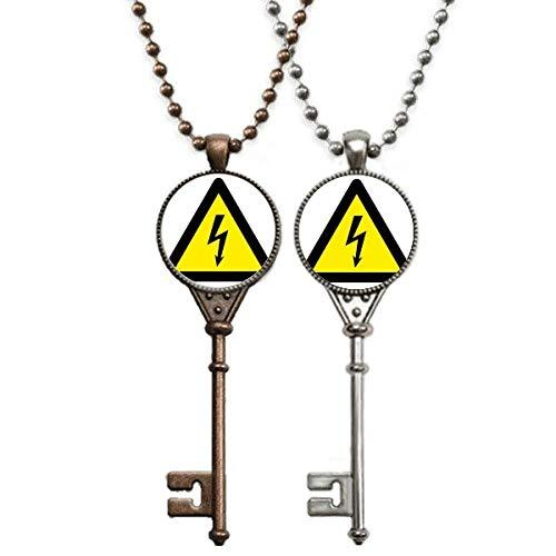 Halskette mit Anhänger, Warnsymbol, Gelb / Schwarz, elektrisch, dreieckig, Schlüssel-Halskette