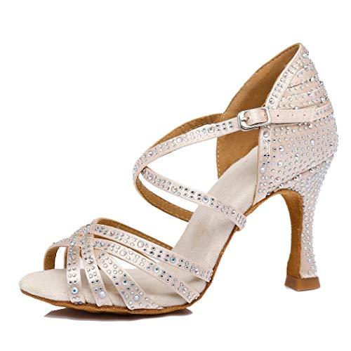 MGM-Joymod Damen Peep-Toe Cross Strap ausgestellte Ferse Satin Strass Salsa Tango Social Latin Modern Hochzeit Tanzschuhe, Beige - Beige 9 cm Absatz - Größe: 37 EU