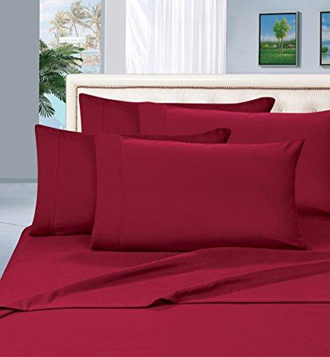 Elegant Comfort Juego de sábanas de 1500 Hilos, Calidad egipcia, 6 Piezas, sin Arrugas y Resistente a la decoloración, Lujoso, Color Burdeos
