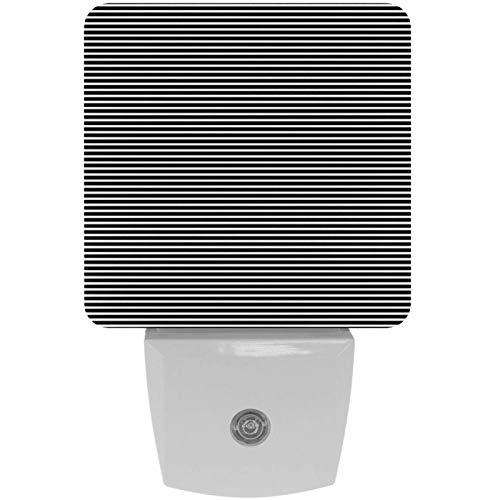 Lámpara LED de noche con impresión de rayas blancas y negras con sensor de movimiento automático del atardecer al amanecer, apta para dormitorio, baño, escaleras, cocina, pasillo