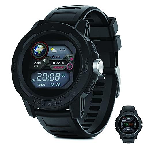 HXHH Sports Smart Watch, Ritmo Cardíaco Profesional Monitor De Oxígeno De Sangre Step Counter IP67 Aventura Al Aire Libre A Prueba De Agua Reloj Táctico, Reloj Táctil Completo Y Reloj De Mujer,Negro