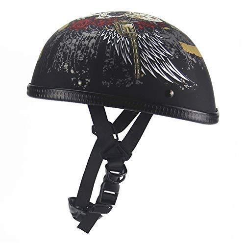 Mehrzweckschutzhelm Motorrad-Sturzhelm PU-Leder-Art-Schwarz-deutsches Motorrad-geöffnete Gesichts-Halbhelm Chopper Biker Pilot Roller Cruiser Moto Helmet (Farbe : 2401 03, Größe : L)
