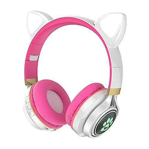 BAWAQAF Cat Ear Wireless Bluetooth Earphone Headphones Children's Lighting Headset,for Android iPhone 3D Stereo Best Headphone with mic