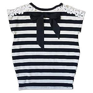 [Bee]キッズ 女の子 半袖 半袖シャツ デザイントップス 親子ペア 140cm ブラックボーダー