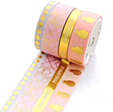Yubbaex Gold Foil Washi Tape Set Ins Style Decorative Tape for Arts, DIY Crafts, Bullet Journal Supplies, Planners, Scrapbooking, Wrapping 4 Rolls Rainbow -Cute Golden- (Summer Pineapple)