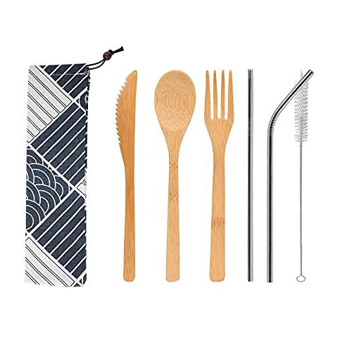 Juego de 6 cubiertos de bambú reutilizables, juego de cuchillos, cucharas, pajitas y tenedores, con cepillo limpio, utensilio reutilizable orgánico cubertería para fiestas, hogar, picnic, boda