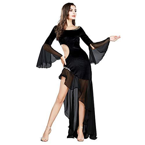 ROYAL SMEELA damska sukienka do tańca sali balowej kostium sukienki aksamit szyfon sukienka z długim rękawem taniec latynoski tango spódnice maxi sukienka eleganckie sukienki imprezowe