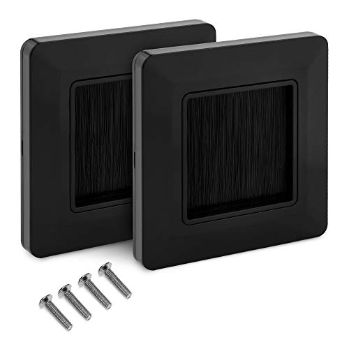 kwmobile 2x Placa de pared con cepillo - Cubierta oculta para tapar cables salidas hoyos y cableado - Set de pasacables para enchufe europeo - Negro