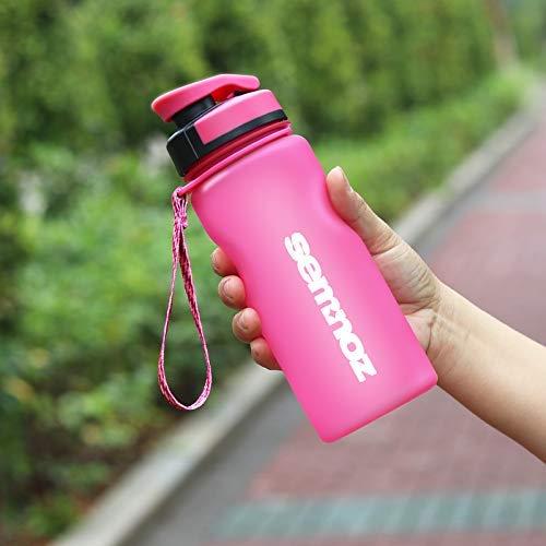 Kslong 飲料ボトル Tritan 水筒 ポータブル旅行自転車プラスチックアウトドアスポーツボトル大きい(ピンク, 600ml)