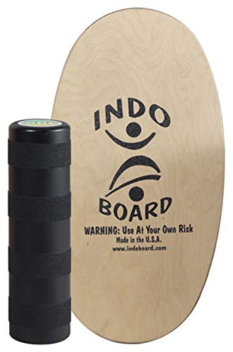 "INDO BOARD Mini Original with Roller - Natural - Balance Board for Kids to Improve Balance - 28"" X 15"" Deck and a 6.5"" Diameter Roller"