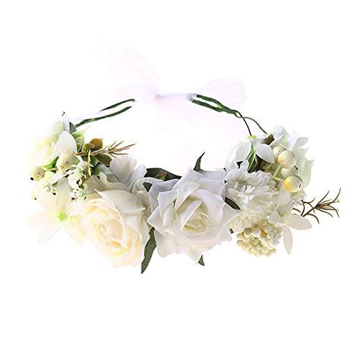 Haarkranz mit Band Handgefertigt Blume Haarkranz Blumenstirnband Blumenkrone Blumenkranz Haare Frauen Blumenkranz Haarkranz Blumengirlande für Muttertag, Hochzeit Zeremonie, Party Strand(Weiß)
