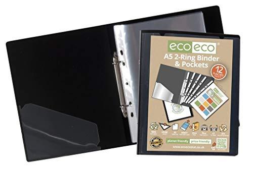 eco-eco A5 65% Reciclada 2-O Anillos Negro Carpeta de Anillas de Color Presentación con 12 Bolsillos de Múltiples...