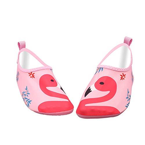 Zapatos de agua para niños y niñas, zapatos de playa de secado rápido, calcetines acuáticos para natación, piscina, yoga, con diseño de flamenco, color rosa, 26/27 EU