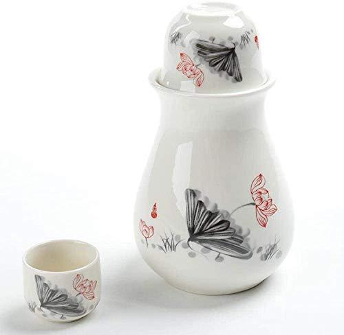 Juego de Sake Japones 4 piezas de glaseado blanco textura de cerámica sake conjunto japonés porcelana sake pote sake corte calentamiento olla conjunto de dueños de casa regalo