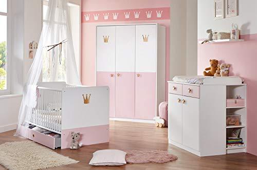 lifestyle4living Babyzimmer Komplett Set für Mädchen, Weiß/Rosa, 4-teilig | mit Babybett 70 x 140 cm, Wickelkommode und Kleiderschrank | Modernes Baby Kinderzimmer