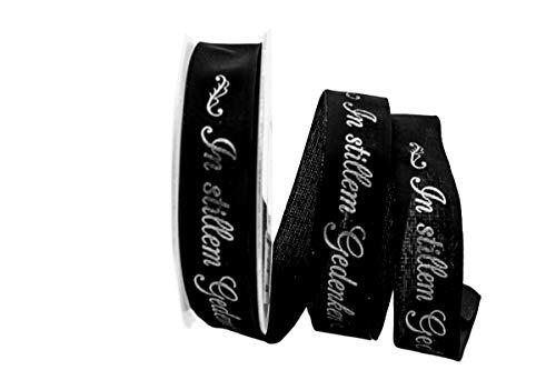 Christa-Bänder Trauerband In stillem Gedenken schwarz 25mm mit Draht