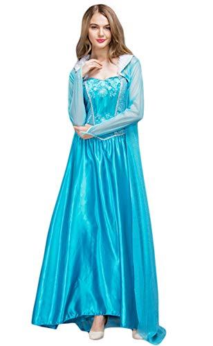 LOBTY Damen Festlich Prinzessin Kleid Erwachsene Cosplay Kostüm mit Umhang Frauen Langarm Abendkleid Weihnachten Halloween Party Kleid Fasching Karneval Verkleidung S-XXL, Blau