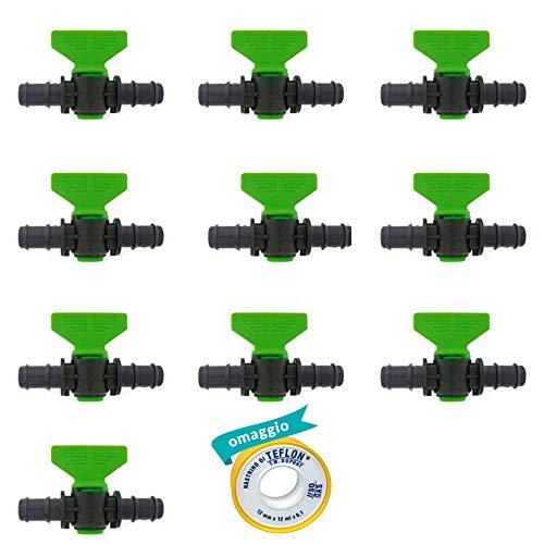 10x Mini Valvola a Cilindro Portagomma, per Impianti di Irrigazione Goccia a Goccia, Made in Italy| da 16x16 mm| 1 Rotolo Nastro Teflon Omaggio (16x16 mm)