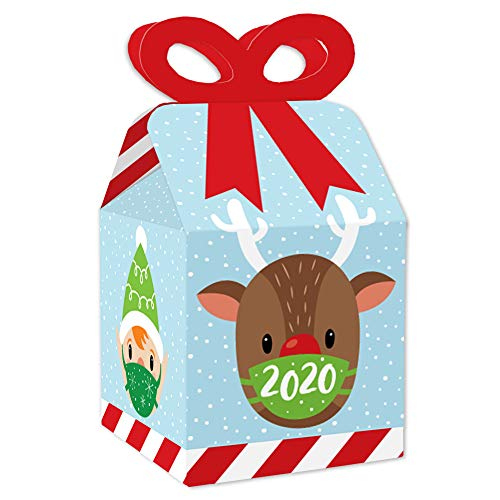 Big Dot of Happiness Merry Christmask - Square Favor Gift Boxes - 2020 Quarantine Christmas Party Bow Boxes - Set of 12