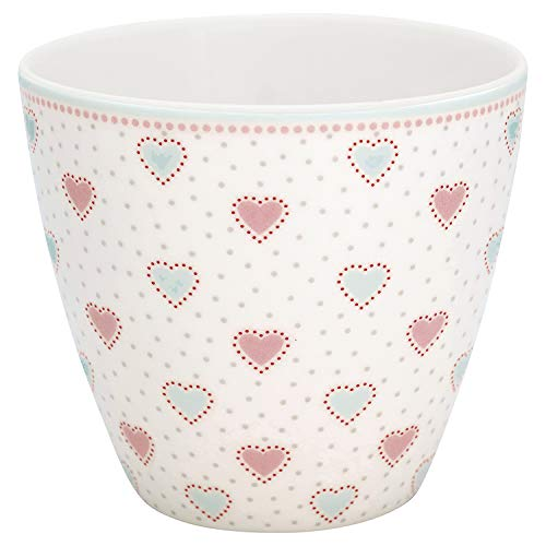 GreenGate Latte Cup Penny Weiss Herzen Rosa Blau Porzellan Kaffeebecher 300 ml