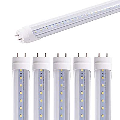 6 Pack 4FT Rechargeable Emergency Led T8 Tube Light Bulbs 20W, White Daylight 6500k G13 Bi-pin Clear Cover, Multi-Function Battery Backup Emergency Light for Power Outage Indoor&Outdoor Activity