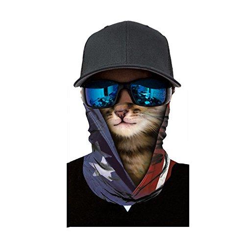 Multifunktionstuch Motorradmaske Gesichtsmaske 3D Tiere Halstuch Kopftuch Schlauchschal Sturmmaske Bandana Schlauchtuch Schutztuch für Motorrad Fahrrad Ski Paintball Karneval Kostüm Face Shield
