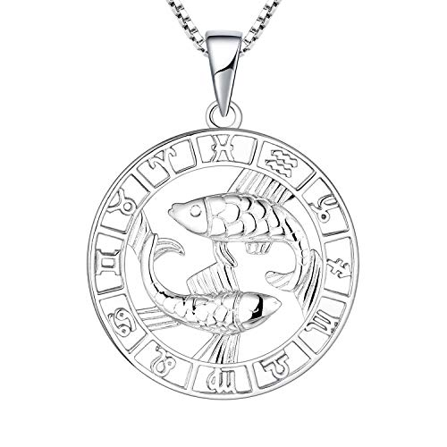 YL Silver Pisces Necklace-925 Sterling Silver Horoscope Zodiac 12 Constellation Pendant Necklace for Women and Girls