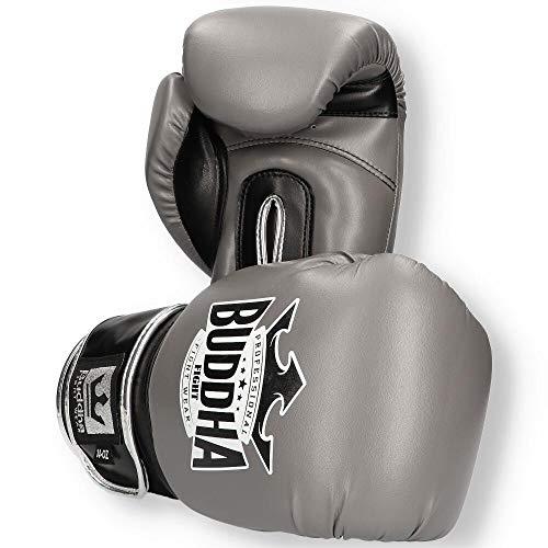Buddha Fight Wear Guantes de Boxeo Top Fight Gris 14 Onzas