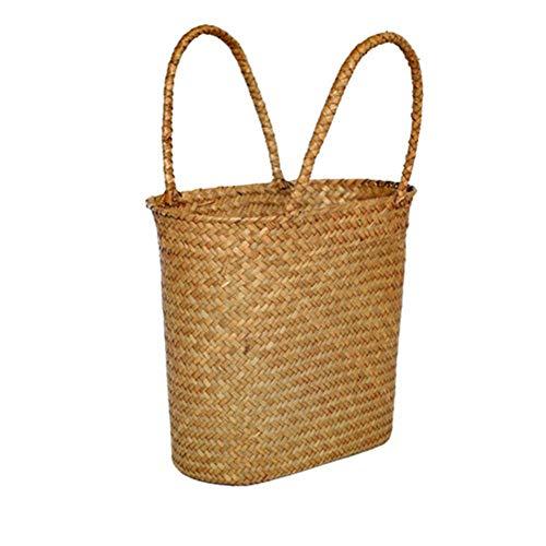 LEIXNDPLBO Straw Weave Wicker Storage -ostoskori-pikniklaukku keittiön pistämisastioille koristeelliset kukkakorit lahja Osier, L045