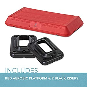 Circuit Fitness - Circuit Size Aerobic Platform with Red Nonslip Platform and Two Original Black Risers