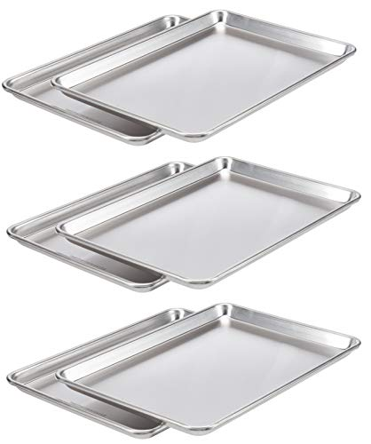 AmazonCommercial Aluminum Baking Sheet Pan, 1/2 Sheet, 17.9 x 12.9 Inch, Pack of 6