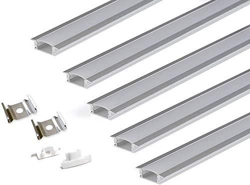 Kingled - 5x Profili in Alluminio da Incasso Lunghezza 2 metri (10mt) Profilo Grigio per Strisce Led con Larghezza fino a 12mm - Incluso di Coperchio Opaco, Tappi e Ganci