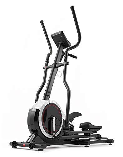 Hop-Sport Ellipsentrainer HS-070C - Ellipsen Crosstrainer für Zuhause mit Pulsmessung und 18kg Schwungmasse, max. Benutzergewicht 150kg Silber