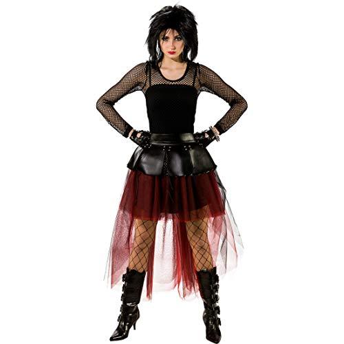 NET TOYS Falda Estilo Velo para Damas rockeras | Rojo-Negro en Talla S/M (ES 38 - 44) | Falda estilizada y a la Moda para Mujeres Punk | A la mediad para Fiestas de los 80 y carnavales