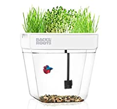Mini home ecosystem: the water garden is a self-cleaning fish Tank Aquarium that grows organic microgreens on top! This tank is a scaled-down hydroponics system - The fish waste fertilizes the plants & the plants clean the water. Use greens in smooth...