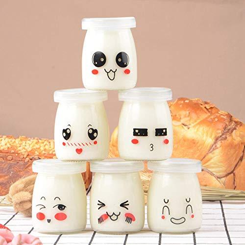 ASDFF 6 Piezas 150/00 ml Taza de Yogur Botellas de pudín de expresión Facial Tarro de Yogur de gelatina de Vidrio Resistente al Calor de Dibujos Animados (patrón Aleatorio)