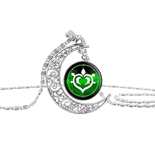 Collar Collar Con Colgante De Luna Hueca Vintage Genshin Impact Eye Of God, Accesorios Para Armas, Collares De Cristal De Cúpula Para Mujeres, Joyería De Anime