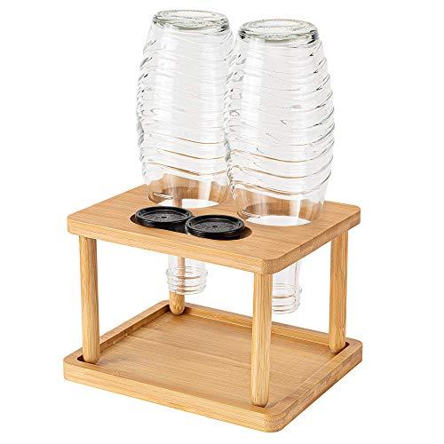 MUSCCCM Soda Stream Flaschenhalter für Glasflaschen, Ablauf Flaschenhalter AbflussstäNder Bambus mit Abtropfschale für z.B Soda Stream Crystal und Emil Flaschen (Holzfarbe)
