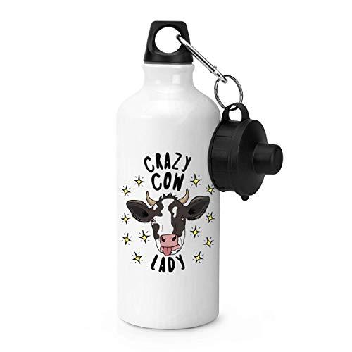 GZCC 600ml Sportwasserflasche,Crazy Cow Lady Stars Fitnessstudio 20 Unzen Aluminium Fitnessstudio Sportwasserflasche