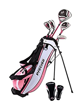 """Distinctive Girls Right Handed Pink Junior Golf Club Set for Age 6 to 8 (Height 3'8"""" to 4'4"""") Set Includes: Driver (15""""), Hybrid Wood (22, 2 Irons, Putter, Bonus Stand Bag & 2 Headcovers"""