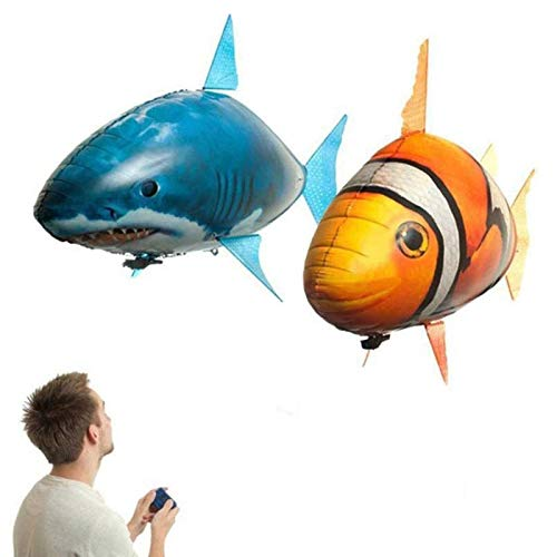 Remote Control Clownfish Flying Shark Air Swimmers RC Animal Inflatable Balloon Toy Indoor Entertainment Diychildren's Toy 2 Pack