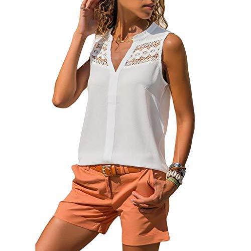 MRULIC Damen Chiffon T-Shirt Sommer Lässig V-Ausschnitt ärmellose Spitze Design Tank Tops Bluse