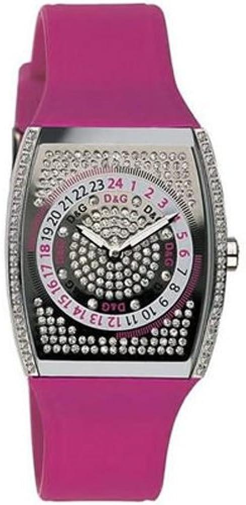 Dolce & gabbana,orologio per donna,cassa in acciaio e  un cinturino in silicone rosa. DW0071