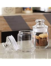 OCEAN Glass Storage container Pop Jar with Glass Lid, Pack of 2, Clear, 500 ml, B0251702