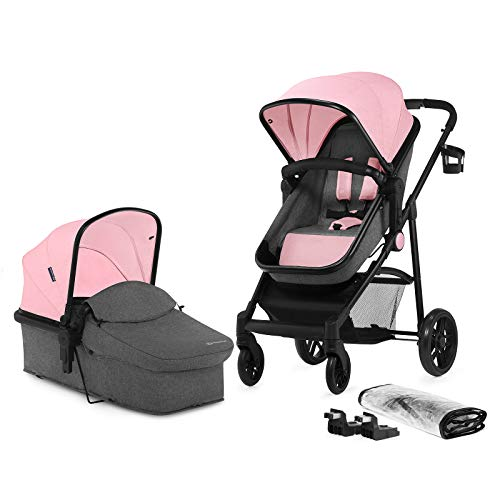 Kinderkraft Pram 2 in 1 Set Juli, Travel System, Baby Pushchair, Buggy, Foldable, Rear or Front Facing, with Carrycot, Accessories, Rain Cover, Footmuff, from Birth to 3 Years, Pink