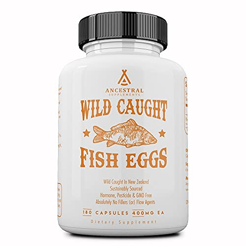 Ancestral Supplements Wild Caught Fish Eggs — Supports Brain, Heart, Fertility and Inflammatory Health (Whole Food Source of Omega-3 Fatty Acids, Vitamins D, K2 & A) 30-Day Supply
