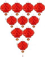 ASIAN HOME 赤い紙提灯 中国春祭り、結婚式、お祝い、ランタンフェスティバルデコレーション(8インチ) (10ピース)