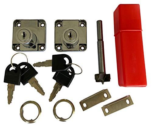Set di 2 serrature + trapano Forstner, serratura per mobili con 4 chiavi, serratura a cassetta