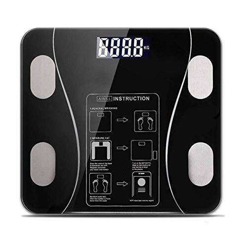 LQH Waage Digital-Gewicht-Badezimmer-Skala, Gleichgewicht Bluetooth-Körper-Skala Boden Scientific Smart Electronic-Skala, 180Kg / 400LB Schwarz